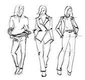 Schizzo. ragazze moda — Vettoriale Stock