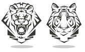 Tiger and lion — Stock Vector