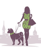 Lady with the Dog — Stock Vector