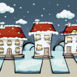 Three winter vector house — Stock Vector