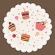 Tasty card made of cupcakes — Stock Vector