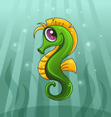 Vector illustration of cartoon seahorse — Stock Vector