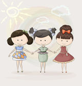 Three happy girl friends — Stock Vector