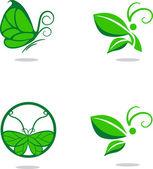 蝶と葉の兆候 — Stock vektor