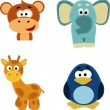 Cute animal Faces Icons — Stock Vector