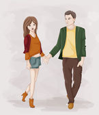 Couple Holding Hands — Stock Vector