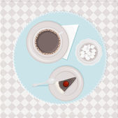 Table with coffee and cake — Cтоковый вектор