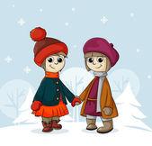 Dos amigas en invierno — Vector de stock