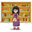 Girl with books in their hands — Stock Vector