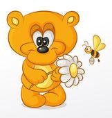 Bear with Flower — Stock Vector