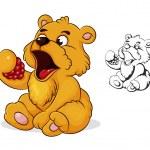 Teddy bear eats raspberries — Stock Vector