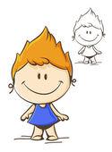 Little funny girl — Stock Vector