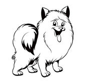 Black and white drawing of the dog — Vector de stock