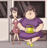 Two women in the metro — Stock Vector