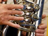 Fragment of tuba — Stock Photo