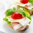 Sandwich with prosciutto, parmesan cheese and tomato — Stock Photo