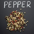 Pepper on black background - Stock Photo