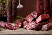 Various salami sausages — Stock Photo