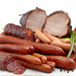Smoked meat and sausages salami — Stockfoto #19894303