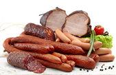 Füme et ve sosis salam — Stok fotoğraf