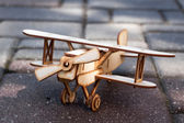 Wooden toy airplane — Stock Photo