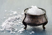Old silver saltcellar — Stock Photo
