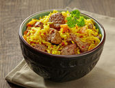 Rice with meat and carrot — Stock Photo