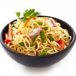 Stock Photo: Bowl of chinese noodles with vegetables