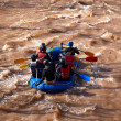 Rubber boat in the river — Stock Photo