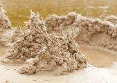 Castillo de arena en la playa — Foto de Stock