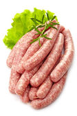 Fresh raw minced meat sausages — Stock Photo