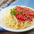 Spaghetti with minced meat and cheese — Stock Photo #26540597
