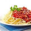 Spaghetti with minced meat and cheese — Stock Photo
