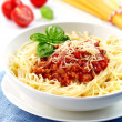 Spaghetti bolognese with minced meat and tomato sauce — Photo