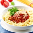 Spaghetti bolognese with minced meat and tomato sauce — Stock Photo