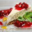 Cheesecake with cherries — Stock Photo