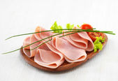 Ham on plate — Stock Photo