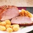 Pork loin on white plate — Stock Photo #30267831