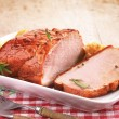 Pork loin on white plate — Stock Photo #30267837