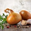 Onions and garlic on a wooden table — Stock Photo #30460087