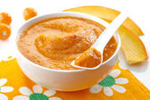 Baby food. Fresh, organic pureed vegetables — Foto de Stock