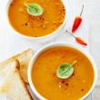 Two bowls of squash soup — Stock Photo