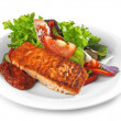 Grilled salmon fillet and vegetable salad — Stock Photo