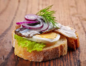 Bread with anchovies and egg — Stock Photo