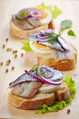 Sandwich with egg and anchovies — Stock Photo