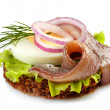 Canape with anchovy and egg — Stock Photo