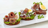 Canapes with anchovies and egg — Стоковое фото