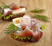 Sandwiches with anchovies and egg — Stock Photo
