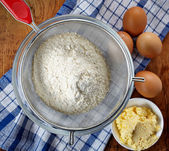 Flour and eggs — Stock Photo