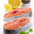 Fresh raw salmon steak slices — Stock Photo #38119369